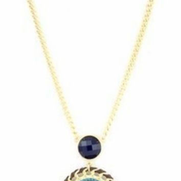 Navy Tribal Chain Necklace