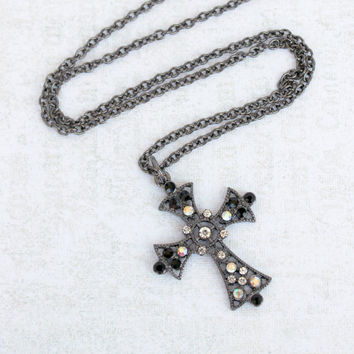 Hollywood Regency Inspired Gunmetal Gray Metal Cross Pendant with Black and Clear AB Crystals - Downton Abbey Necklace - Ready to Ship