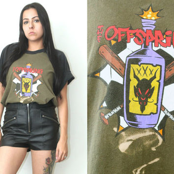 Vintage 90s Hipster // The Offspring Two Tone Band Tee // T Shirt // XS Extra Small / Small / Medium / Large