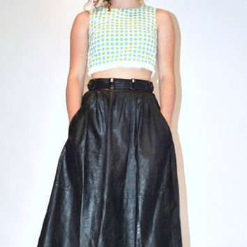 60s MOD crop top / avant garde 1960s polka dot cropped tank small