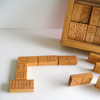 Double 9 Handmade Dominoes of White Oak by TheBentTreeGallery