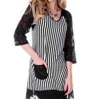 Black & White Lace Stripe Tunic | zulily