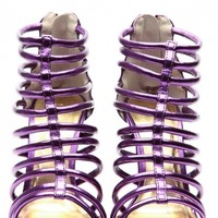 Modernly Chic Purple Glitz Strappy Single Sole Heels
