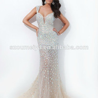 Source Oumeiya OEP898 Sexy See Through High Low Ruffled Beaded Prom Dresses 2015 on m.alibaba.com