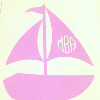 Monogrammed Sailboat Vinyl Decal - Laptop Car