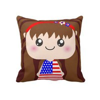 Cute / Kawaii American July 4th Girl Squeable Throw Pillow from Zazzle.com