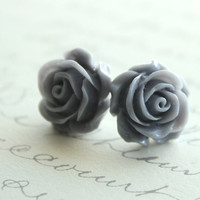 Rose Stud Earrings Slate Grey Bridesmaids by apocketofposies