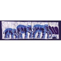 "Small African Batik - Elephant Family 28"" x 9"""