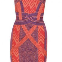 Orange Mini Dress - Bqueen Geometric Jacquard Bandage Dress | UsTrendy