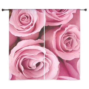 """Pink Roses 60"""" Curtains"""