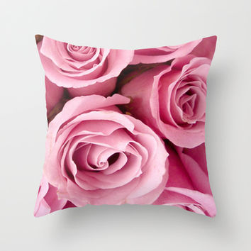 Pink Roses Throw Pillow by Erika Kaisersot