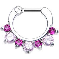 "14 Gauge 1/4"" Seven Pink and Dark Pink Cubic Zirconia Septum Clicker 