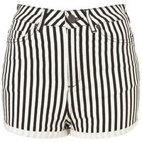 MOTO Washed Stripe Hotpants - Shorts  - Apparel  - Topshop USA