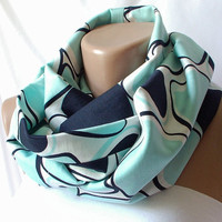 Infinity Scarf loop big dotted handmade from light green by Periay