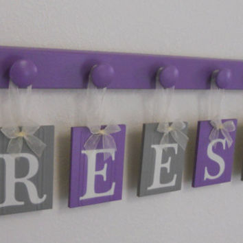 Purple Alphabet Letters Baby Name Sign Personalized for REESE with 5 Wooden Pegs Lilac and Gray