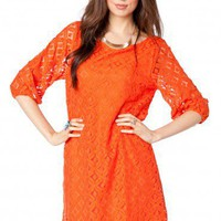 Lace Petal Shift Dress in Orange - ShopSosie.com