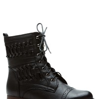 Twisted Lands Black Lace Up Boots @ Cicihot Boots Catalog:women's winter boots,leather thigh high boots,black platform knee high boots,over the knee boots,Go Go boots,cowgirl boots,gladiator boots,womens dress boots,skirt boots.