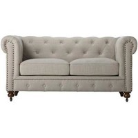 Home Decorators Collection, Gordon 32 in. H x 66 in. W Natural Linen Loveseat, 0849500400 at The Home Depot - Mobile