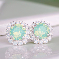Chrysolite Opal Swarovski Crystals Framed with White Opal Halo Crystals on Silver Post Earrings