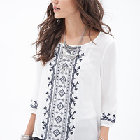 Embroidered Woven Peasant Top