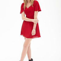 FOREVER 21 Cutout Flutter Sleeve Dress Red
