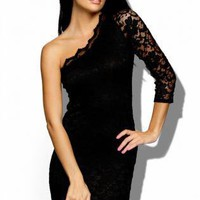 Black Cocktail Dress - Lightweight Black Lace One Shoulder | UsTrendy
