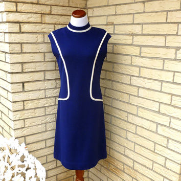 Vintage Mod Dress Wool Navy Shift Sheath Large