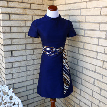1960's Dress Navy Shannon Rodgers Mini Medium