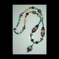 The Rainbow Tree of Life Unique Handmade, Hand Painted, Long Medicine Wheel Necklace | whiteowldesigns - Jewelry on ArtFire