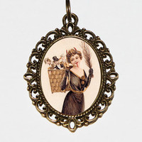 Lady Krampus Necklace, Christmas Horror, Oval Pendant
