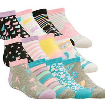 GIRLS' 6 PACK MIX N' MATCH LOW CUT SOCKS GRADESCHOOL