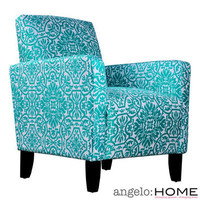 angelo:HOME Sutton Modern Damask Turquoise Blue Arm Chair | Overstock.com