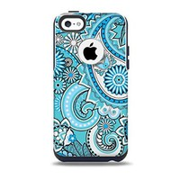 The Vibrant Blue and White Paisley Design Skin for the iPhone 5c OtterBox Commuter Case