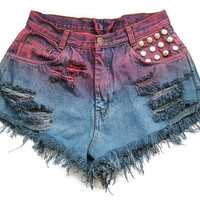 High waisted denim shorts M by deathdiscolovesyou on Etsy