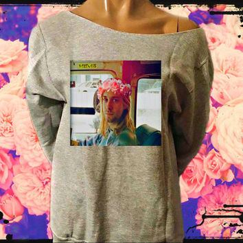 Kurt Cobain Flower Crown Off The Shoulder Sweatshirt