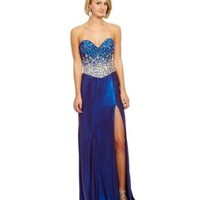 Terani Couture Long High Slit Beaded Bodice Gown