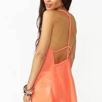 Braided Chiffon Tank in Coral