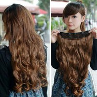 "20"" Long 9"" Wide Wavy Curly Hair Extension Onepiece Clip on for Sexy Lady Free Shipping Dark Brown"