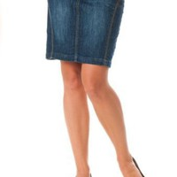 Motherhood Maternity: Indigo Blue Secret Fit Belly(tm) Knee Length Slim Fit Maternity Skirt