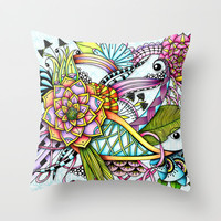 Cheerful Garden Throw Pillow by Zandiepants | Society6