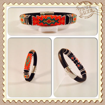 Sunset Seed Beaded Licorice Leather Bangle