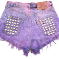 Ombre dip dye Levi high waist shorts with by deathdiscolovesyou