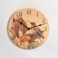 10 inch diameter wall clock. Vintage bird and orchid. Baltic birch clock. CL3027