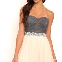 Short Homecoming Dress with 3D Detail Bodice and Soft Skirt