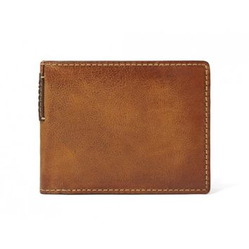 Fossil Tan Wilson L-Zip Bifold Leather Wallet w/ Change Pocket