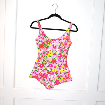 1960s bathing suit / MOD pin up girl floral one peice swim suit swim wear small