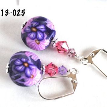 Purple and Pink Flower Earrings with Swarovski Crystals Polymer Clay