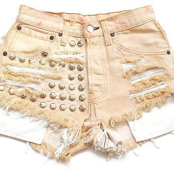 Studded high waisted bleached shorts XS by deathdiscolovesyou
