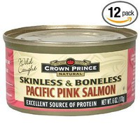 Crown Prince Natural Skinless/Boneless Pacific Pink Salmon, 6-Ounce Cans (Pack of 12)