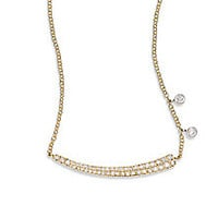Meira T - Diamond & 14K Yellow Gold Asymmetrical Curved Bar Necklace - Saks Fifth Avenue Mobile